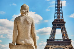 Statue on the Trocadero view pont in front of the Eiffel tower Stock Images