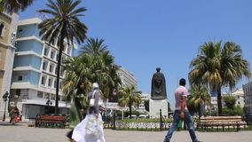 Statue in Tunis, Tunisia. TUNISIA, TUNIS, JUNE 30, 2010: Statue of Ibn Khaldun, Tunisian historian and philosopher in Tunis, Tunisia, June 30, 2010 stock video footage