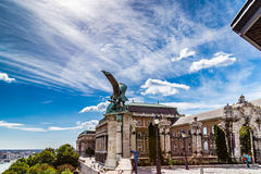 Statue of a Turul on the railing of Buda Castle stock photography