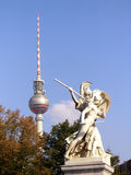 Statue and TV tower Stock Images