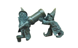 Statue of two dwarfs on white background Stock Photos