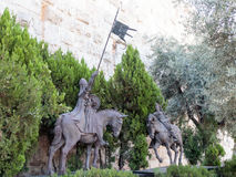 Statue with two knights in the old city in  Jerusalem near the Jaffa Gate Stock Photography