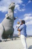 Statue of Tyrannosaurus Rex dinosaur Stock Photo