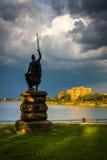 Statue und Druid See am Druide-Hügel-Park, Baltimore, Maryland Stockbilder