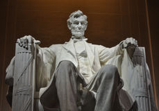 Statue of US President Abraham Lincoln inside the Lincoln Memorial stock photography