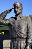 Statue of USAF Major Rhory Draeger. Bronze statue of US Air Force Major Rhory Draeger  saluting and at attention in front of the Evergreen Aviation and Space Stock Photography