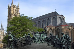 Statue of the van eyck brothers. A statue in Ghent, Belgium, depicts the van Eyck brothers, Hubert and Jan Royalty Free Stock Images