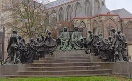 Statue of the Van Eyck brothers, Ghent, Belgium stock photo