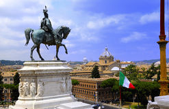 Statue of Victor Emmanel II. Equestrian bronze sculpture of King Victor Emmanuel II on top of the Vittoriano, the National Memorial Monument Stock Photography