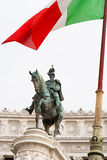 Statue of Victor Emmanuel II with Italian flag on Piazza Venezia, Rome Royalty Free Stock Photos