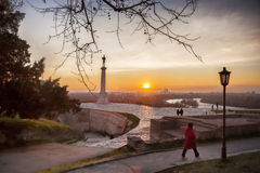 Statue of Victory with a monument in Belgrade, Serbia Stock Photos