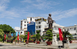 Statue of Vietnam's President Ton Duc Thang. LONG XUYEN, VIETNAM - FEB 5: Statue of Vietnam's President Ton Duc Thang (also called Uncle Ton) in the main square Royalty Free Stock Images
