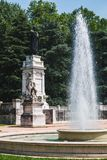 Statue of Virgilio and fountain in Mantua. Italy royalty free stock photo
