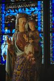 Statue of the virgin in the cathedral of clermont ferrand Stock Photo