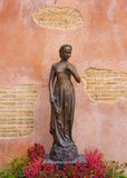 Statue of Virgin Mary with brick Wall Royalty Free Stock Photos