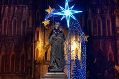 Statue of Virgin Mary. Religious image of the Virgin during the 'Virgen del Carmen' procession Stock Images