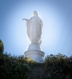 Statue of the Virgin Mary on the top of Cerro San Cristobal, San Stock Photos