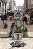Statue vivante à Lisbonne Images libres de droits