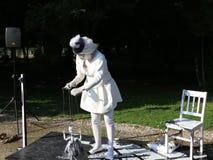 Statue vivante - marionnettiste blanc de dame banque de vidéos
