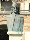 The statue of Vlad Tepes in  the Old Court of Bucharest. The Old Court of Bucharest, Romania, (the Old Princely Court) was built as a place of residence during Royalty Free Stock Photos