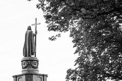 Statue of Vladimir The Great in Kiev, Ukraine, back view in black and white. With copy space. Saint Vladimir is the baptizer of Kievan Rus Royalty Free Stock Photo