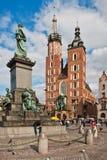 Statue von Adam Mickiewicz in Krakau, Polen Lizenzfreies Stockbild