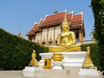 Statue von Buddha und von Tempel Lizenzfreie Stockfotografie