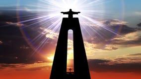 Statue von Christus der König und das göttliche Licht stock footage