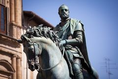 Statue von Cosimo I de Medici, Florenz Lizenzfreies Stockfoto