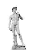 Statue von David lokalisierte auf weißem Hintergrund stockbilder
