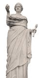 Statue von Demeter auf weißem Hintergrund Stockfotografie