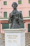 Statue von Galuppi im Hauptplatz von Burano, Marktplatz Galuppi, Stockfotos