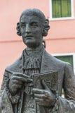 Statue von Galuppi im Hauptplatz von Burano, Marktplatz Galuppi, Stockfoto