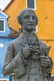 Statue von Galuppi im Hauptplatz von Burano, Marktplatz Galuppi, Lizenzfreie Stockfotos