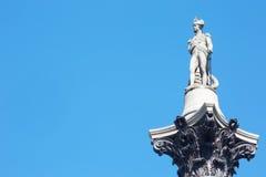 Statue von Horatio Nelson im Trafalgar-Platz Stockfotografie