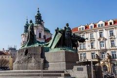 Statue von Jan Hus Lizenzfreie Stockfotos