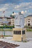 Statue von Justinian im Stadtzentrum von Skopje, Mazedonien Lizenzfreies Stockbild