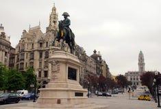 Statue von König Dom Pedro VI, Porto, Portugal. stockfotografie