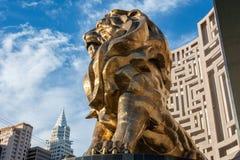 Statue von Löwen, der MGM-Löwe, vor MGM Grand-Hotel und Kasino in Las Vegas, Nanovolt lizenzfreie stockfotos