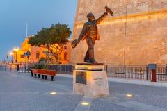 Statue von Manwel Dimech, Valletta, Malta Stockfotografie