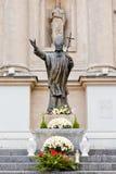 Statue von Papst John Paul II in Warschau Stockbilder