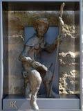 Statue von Pilgern zu Santiago de Compostela stockbild