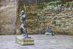 Statue von Robin Hood Lizenzfreies Stockfoto