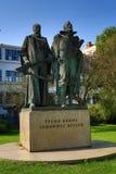 Statue von Tycho Brahe und von Johann Kepler, Prag, Tschechische Republik Lizenzfreie Stockfotos