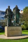 Statue von Tycho Brahe und von Johann Kepler, Prag, Tschechische Republik Lizenzfreies Stockbild