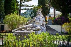 Statue von verletztem Achilleus, Korfu, Griechenland Stockfoto