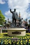 Statue of Walt Disney and Mickey Mouse. Bronze Statue of Walt Disney and Mickey Mouse in front of Sleeping Beauty Castle at Disneyland Stock Photography