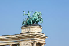 Statue of War on Heroes Square in Budapest, Hungary Stock Image