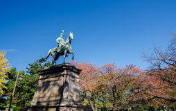 Statue of warrior on horse in Ueno district, Tokyo Royalty Free Stock Image