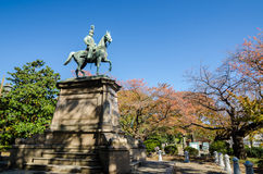 Statue of warrior on horse in Ueno district Stock Photos